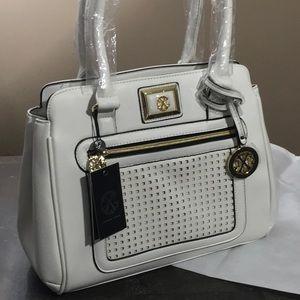 Christian Lacroix white Giselle satchel laser cut